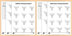 Addition and Subtraction Missing Numbers Robot Themed Activity Sheet