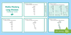 Year 6 Calculation Long Division Maths Mastery Activities Challenge Cards