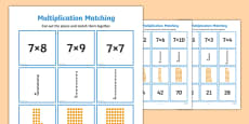 7 Times Table Multiplication Matching Puzzle