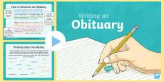 * NEW * KS2 Obituary Writing PowerPoint