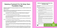 Changes to the Statutory Framework for the Early Years Foundation Stage Published March 2017 - Information Leaflet