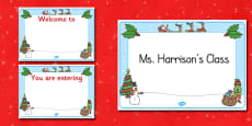 Christmas Themed Editable Class Welcome Signs