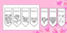 Valentine's Mindfulness Colouring Bookmarks Romanian Translation