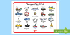 Transport Word Mat Arabic Translation
