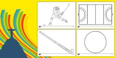 The Olympics Hockey Colouring Sheets