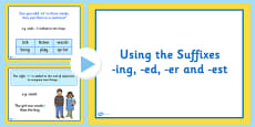 Using the Suffixes ing, er, est and ed Lesson Teaching PowerPoint