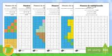 Fichas de actividad de atención a la diversidad: Mosaico de multiplicación - Verano
