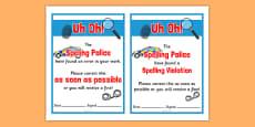Spelling Police Punishment Ticket