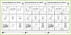 Find and Write the ow Words Differentiated Activity Sheet Pack