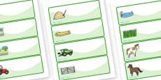 Editable Drawer - Peg - Name Labels (On the Farm)
