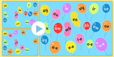 Phase 5 Phonemes on Popping Balloons PowerPoint