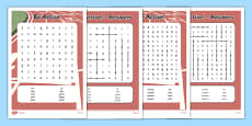 Active Week Differentiated Word Search