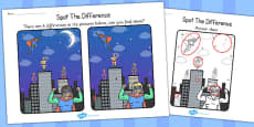Superheroes Spot the Difference Activity