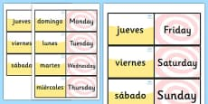 Spanish Days of the Week Loop Cards