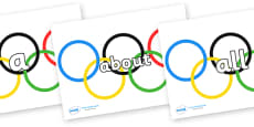 100 High Frequency Words on Olympic Rings