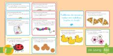 Tarjetas de desafío de matemáticas: Problemas de sumas y restas hasta 100 con palabras
