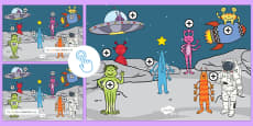 Space Aliens Prepositions Picture Hotspots
