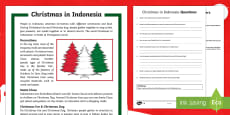 Christmas Around the World  Indonesia Differentiated Reading Comprehension Activity