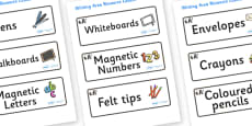 Panda Themed Editable Writing Area Resource Labels