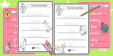 Chicken Licken Trace the Words Activity Sheets