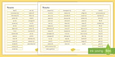French Nouns Word Mat