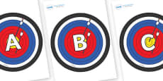 A-Z Alphabet on Archery Targets