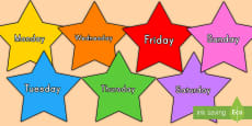 * NEW * Multicolored Stars Days of the Week Display Cut-Outs