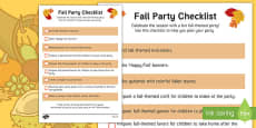 Fall Party Checklist