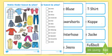 Clothes I Spy Activity Sheet - German