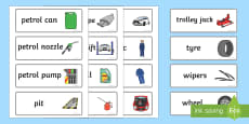 Mechanics/Garage Role Play Word Cards