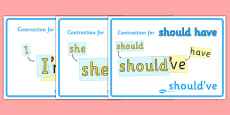 Contractions Grammar Display Posters