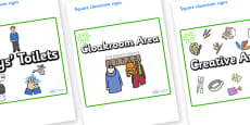 Green Themed Editable Square Classroom Area Signs (Plain)