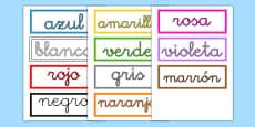 Tarjetas de vocabulario de los colores