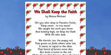 Remembrance Day Poem Sheet We Shall Keep The Faith (A4)