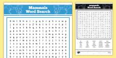 Australian Animals Years 3-6 Mammals Word Search