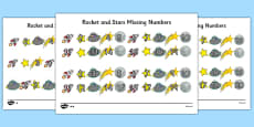 Rockets and Stars Missing Number Differentiated Activity Sheet Pack