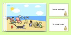 Seaside Scene and Question Cards Romanian