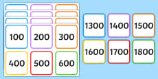 Multiples of 100 on Square Number Cards