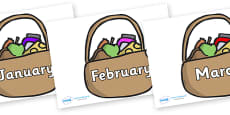 Months of the Year on Baskets