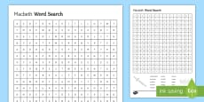 KS3 Macbeth Word Search