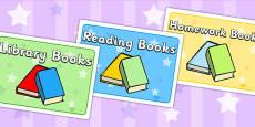 Various Books Display Signs