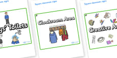 Cedar Tree Themed Editable Square Classroom Area Signs (Plain)