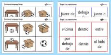 Spanish Positional Language Bingo Spanish / Español