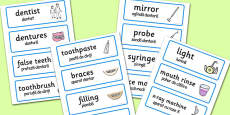 Dental Surgery Role-Play Word Cards Romanian Translation