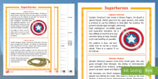 Superheroes Differentiated Reading Comprehension Activity