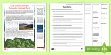 Loch Lomond and The Trossachs Differentiated Reading Comprehension Activity