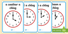 Analogue Clocks, Hourly O'Clock Display Posters Gaeilge