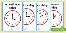 Analogue Clocks, Hourly O'Clock Display Posters Gaeilge