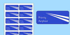 Irish Air Mail Postage Stamps Cut Outs