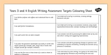 2014 Curriculum LKS2 Years 3 and 4 Writing Assessment Targets Colouring Sheet